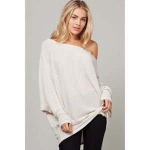 Off the Shoulder Textured Knitted Top-Oatmeal